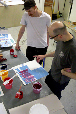 Image of printmaking work being done at Dolphin Press and Print